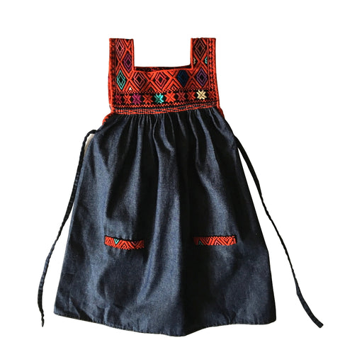 chambray embroidered children's pinafore red
