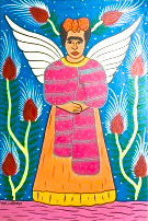 frida kahlo, angel, hand painted, folk art, rebolso