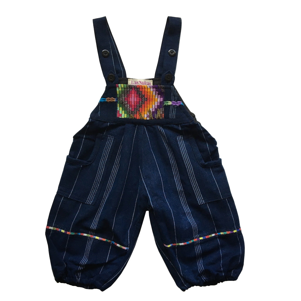 huipil and striped indigo 1-2 years unisex overalls
