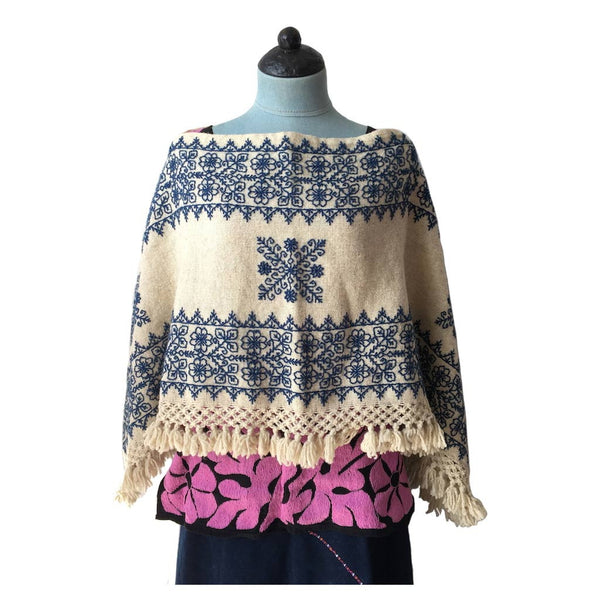 cream poncho indigo leaves & flowers