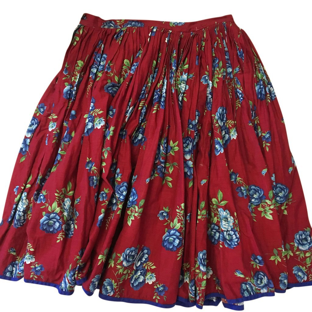 skirt vintage red floral cotton