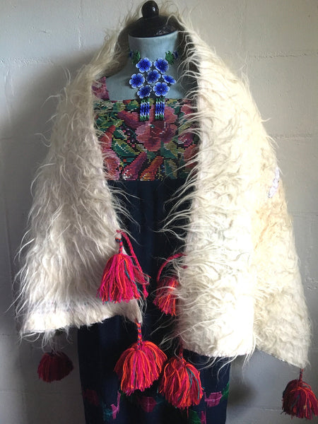 shaggy vintage lambswool shawl with tassels