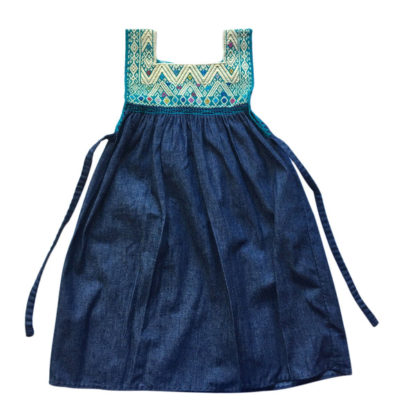 chambray embroidered children's pinafore turquoise 4 years