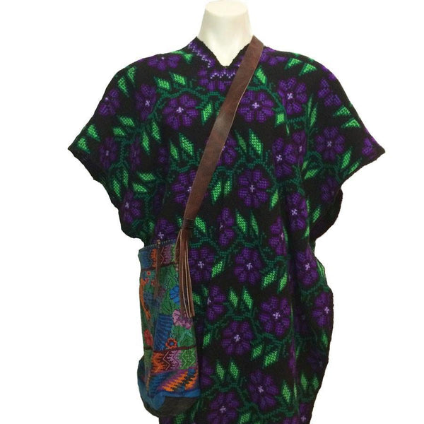 purple & green embroidered open sided poncho