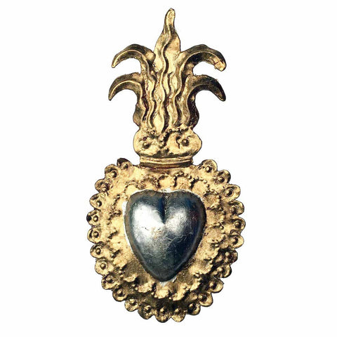 gold leaf tin heart with plumes medium