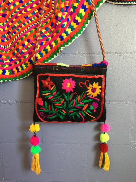 wool bag embroidered black bag