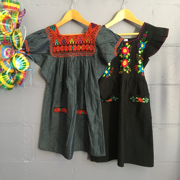 hand embroidered children's dress black 6 years