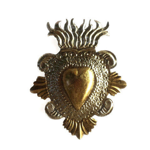 gold leaf tin heart large