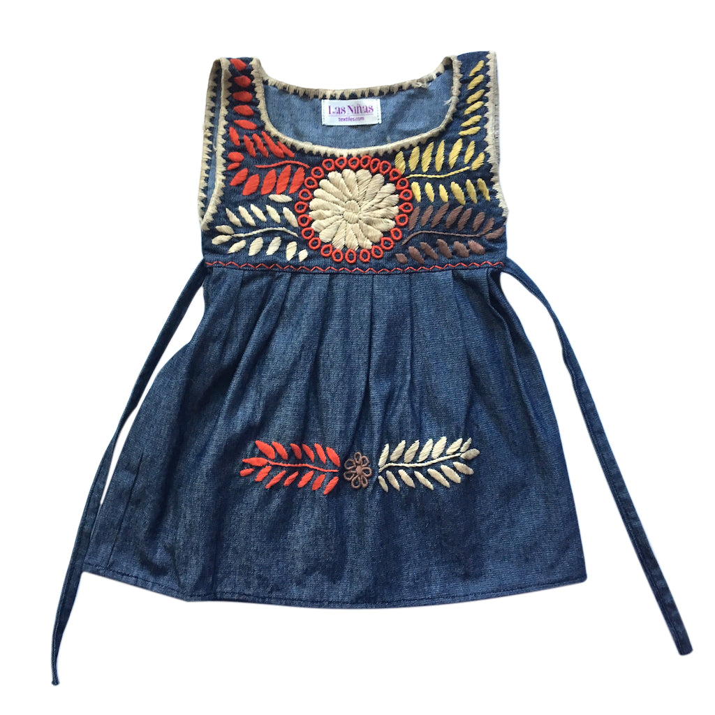 chambray embroidered childrens pinafore