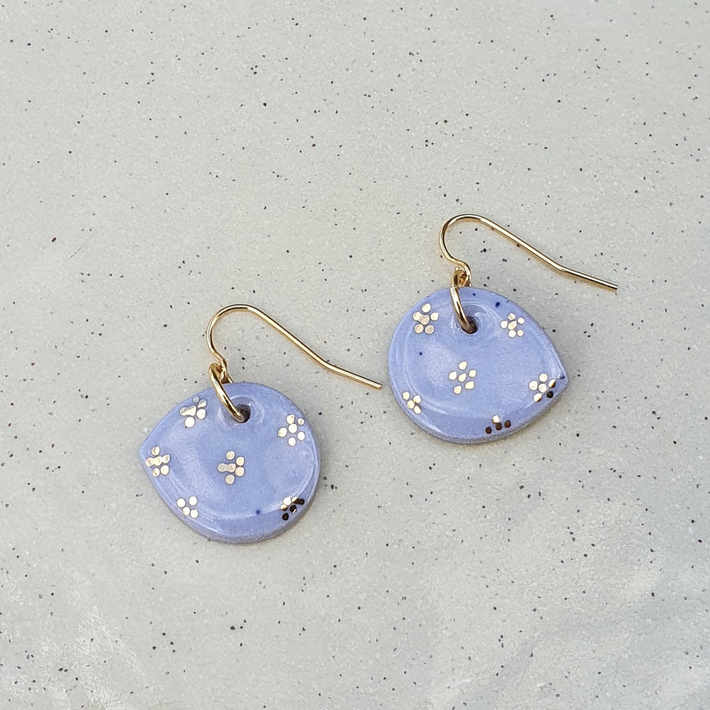 Lilac petal earrings - gold flowers