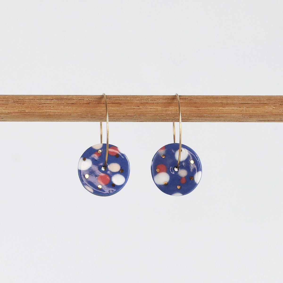 Donut earrings - Royal blue mix & gold dots