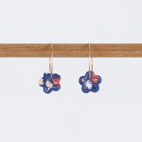 Blossom hoops - Royal blue mix , gold dots