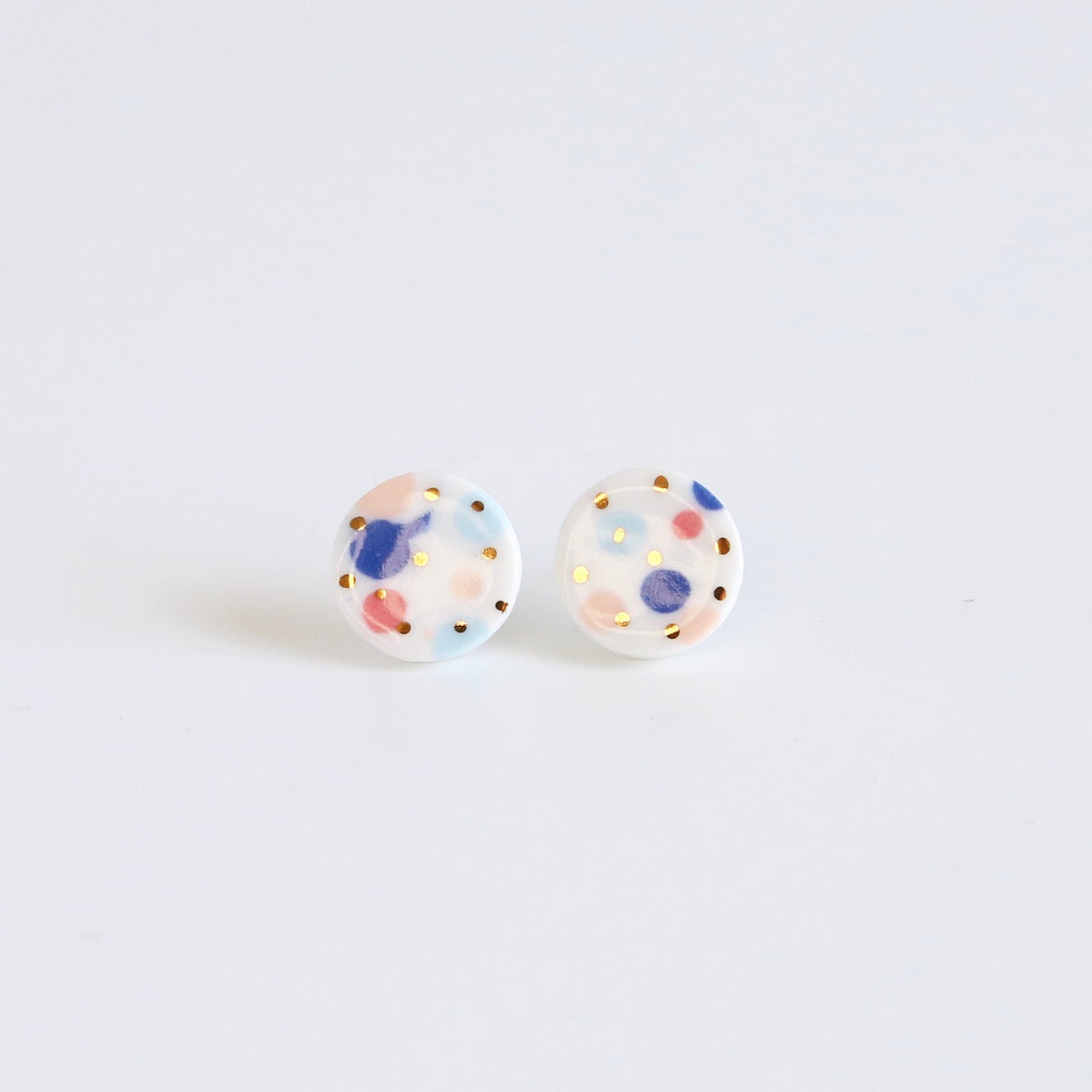 Party mix, grand circle studs - gold dots