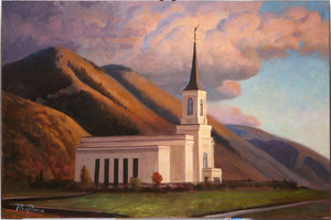Star Valley Wyoming Temple - Framed 14x21