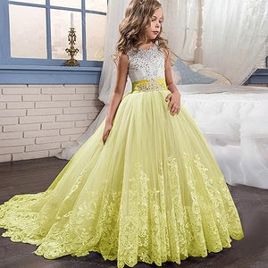 Flower dresses kids clothing for making moments to remember flower girl dresses with bow beaded crystal lace mightylinksfo