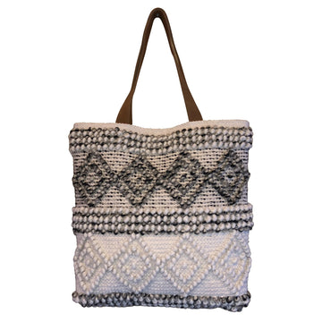Ivory and Taupe Diamond Tote