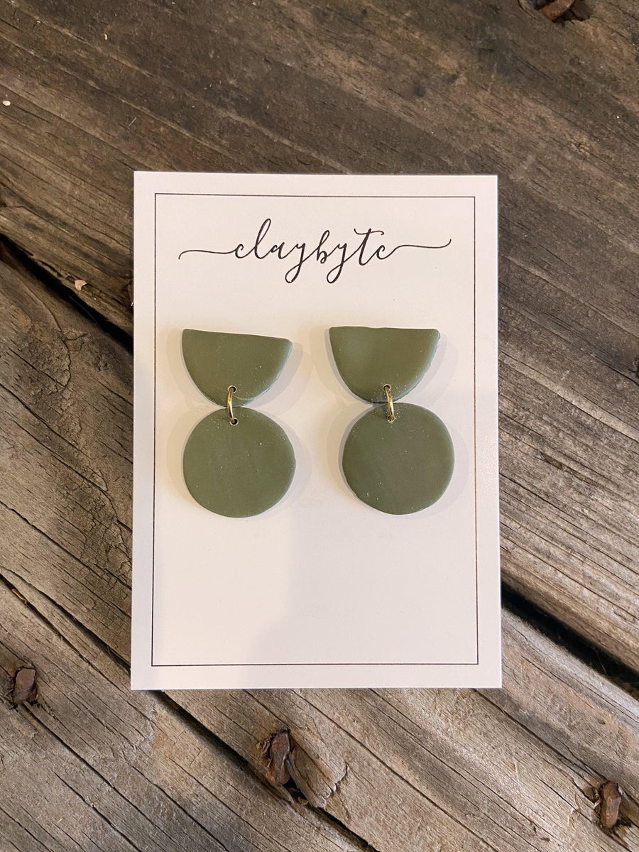 Olive green clay earrings