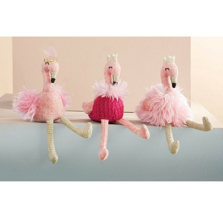 Kids Baby Shower Flamingo Plush Rattle WING FUR