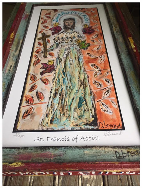 St. Francis of Assisi GICLEE PRINT ONLY (ORANGE BACKGROUND)- PLEASE READ DESCRIPTION