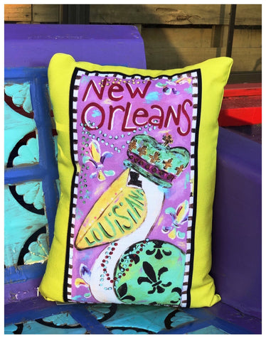 New Orleans MARDI GRAS King Pelican Throw Pillow by Dayna Breaud