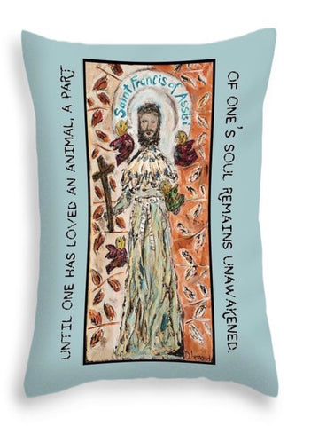 ST. Francis of Assisi (orange background) THROW PILLOW