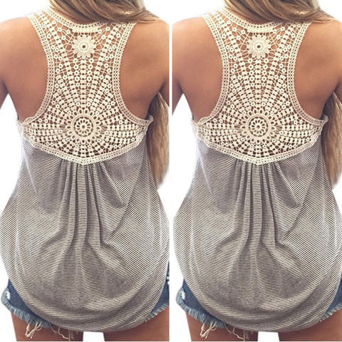 Lace tops Crochet Back Hollow-out Tank Tops