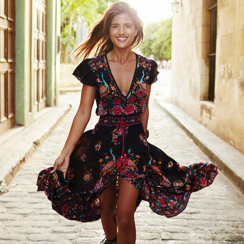 Floral Print V neck Female Party Long Maxi Dress