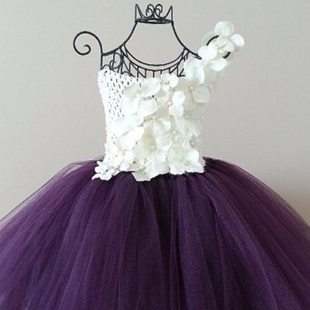 Straps Girl Dress White Pink Purple