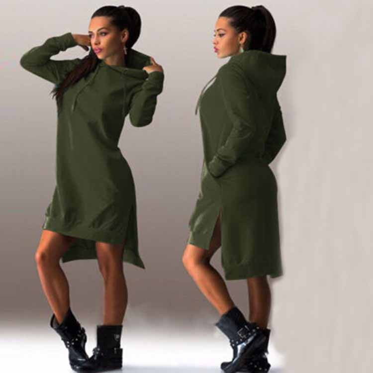 O-neck Long Sleeve Irregular Solid Hooded Dress
