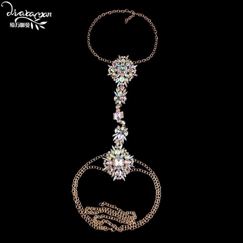 Body Chain Long Crystal Rhinestone Pendant Necklace - awashdress