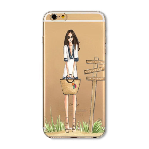 iPhone 7 6 6S 5 5S SE 7Plus 6sPlus 4S Phone Case Cover Fashion Dress Shopping Girl Transparent Soft Silicon