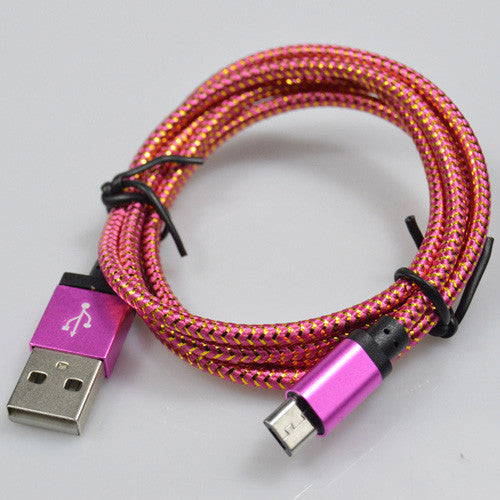 25cm/1M/2M/3M Micro Nylon USB Cable For Android Smart Phone Tablet PC - awashdress