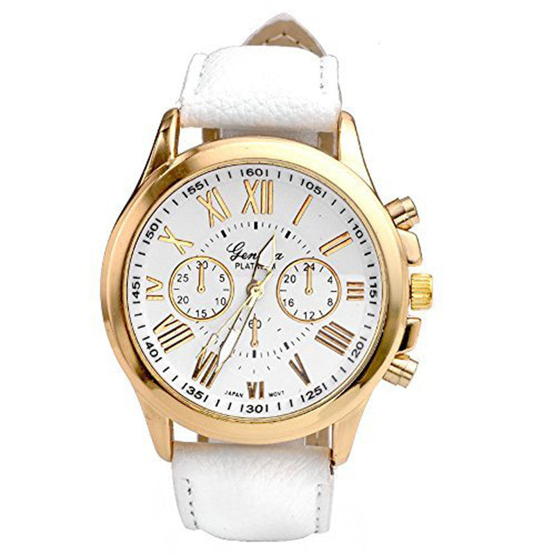 Leather Roman Numerals Big Dial Hour Analog Quartz Wrist Watches