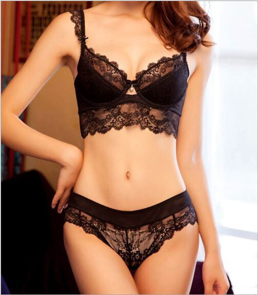 Women embroidery ultra-thin underwear set lace brassiere and hollow out Panties