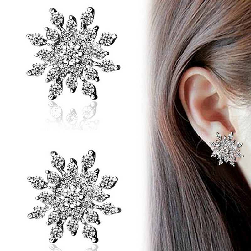 Crystal Snow Flake Statement Stud Earrings - awashdress