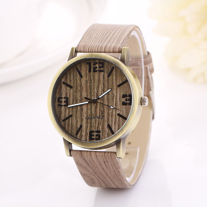 Wood Grain Watch Women Quartz