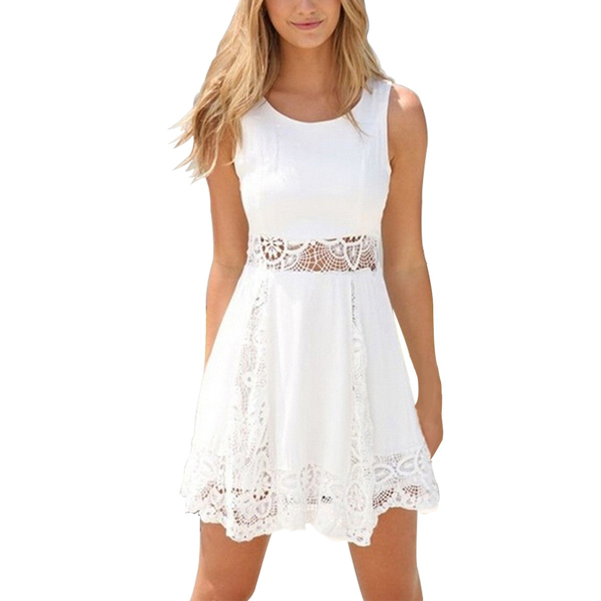 White Dress Solid Lace Strapless