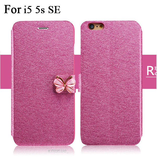 Butterfly Built-in Card slot Silk Pattern Stand Flip Leather Mobile Phone Case For iPhone 5 5S SE 6 6S Plus - awashdress