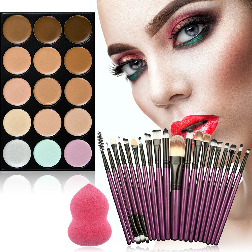 Pro Cream Concealer Palette Kits With 20Pcs Brushes set Puff Sponge
