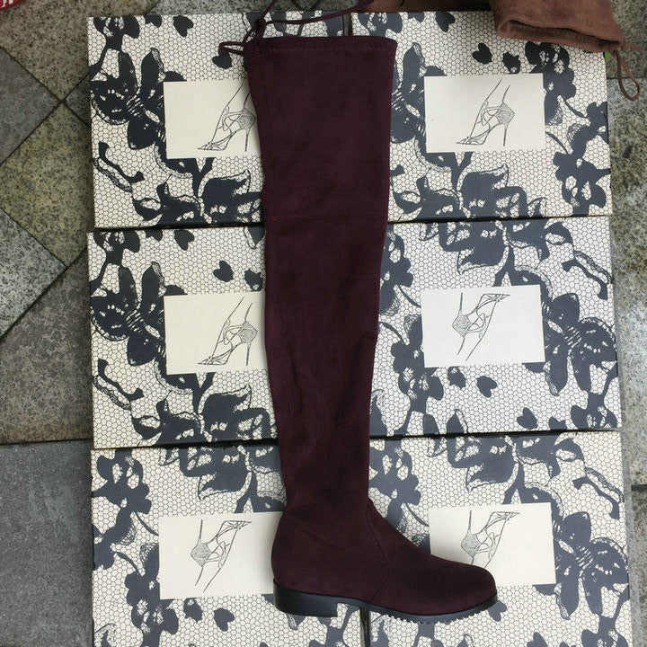 Faux Suede Thigh High Boots Flat