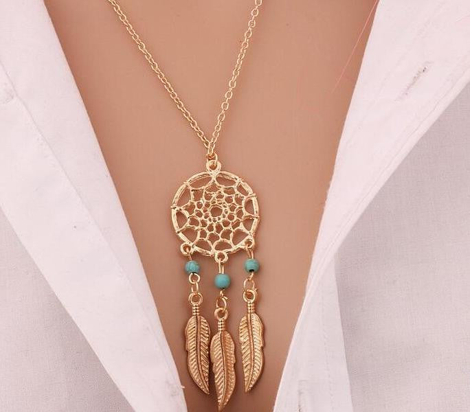 Feather Pendant Necklace Chain