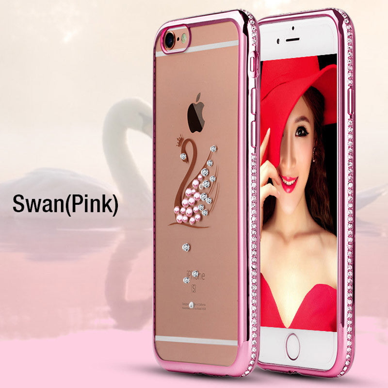 Tomkas Rhinestone Silicone Case For iPhone 6 6S / 6S Plus Glitter 3D Diamond Cover Gold Pink i Phone
