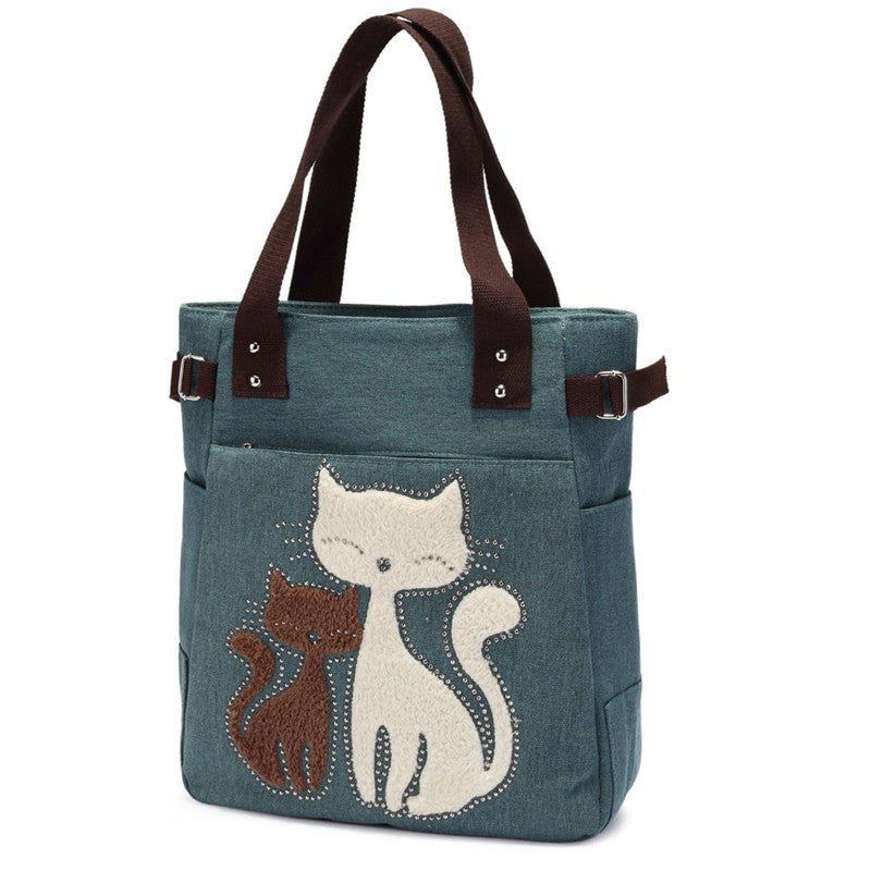 Casual Tote Bag Cartoon Cat - awashdress