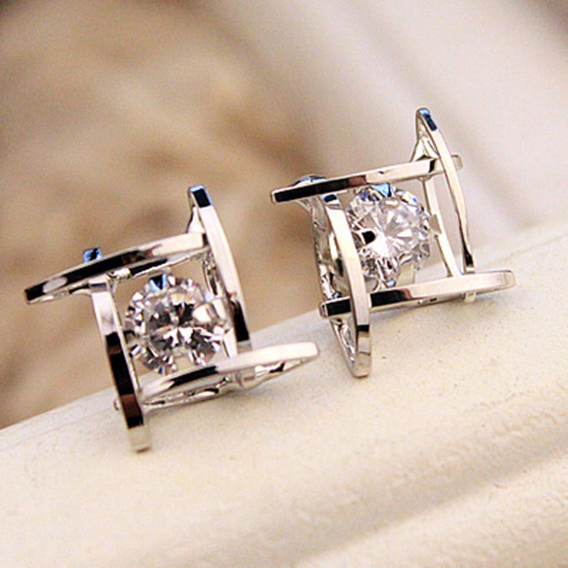 Rhinestone Full Crystals Square Stud Earrings