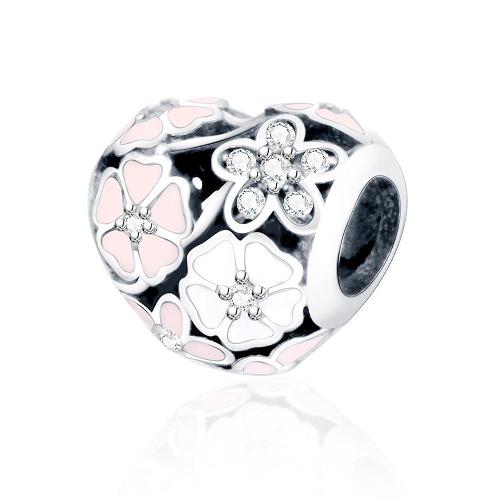Autumn Winter DIY Berloque Enamel Poetic Bloom With Zircon Flower Heart Bead - awashdress