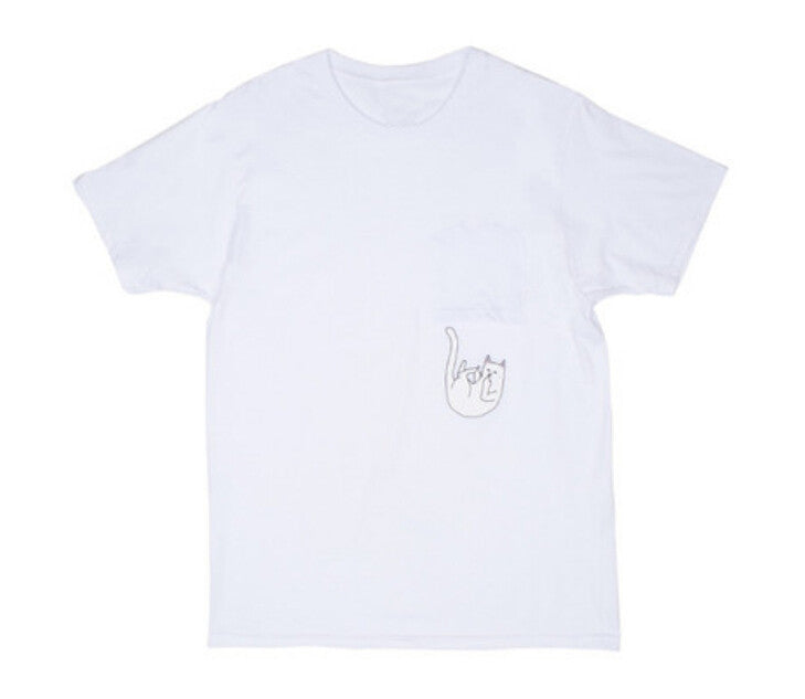 Cat Print Pocket T-Shirt - awashdress