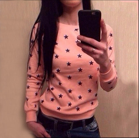 Long Sleeve Star Print Pullover Sweatshirt