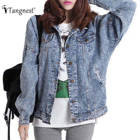 Denim Washed Vintage Boyfriend Jacket - awashdress
