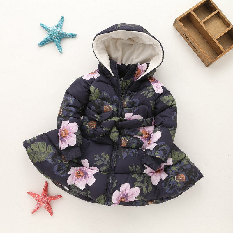 Floral Girls Warm Coat