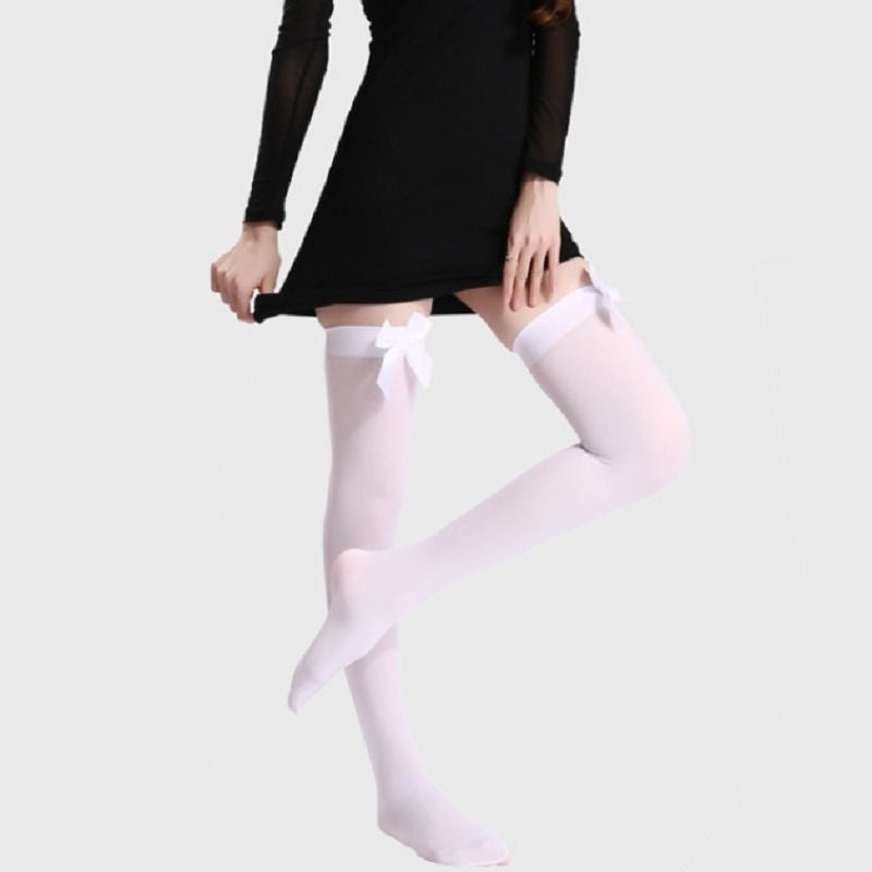 Nylon Stretchy Over The Knee High Stockings With Bows